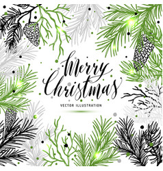 merry christmas greeting card with new years tree vector image vector image