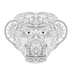 Monkey coloring for adults vector