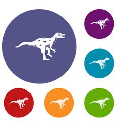 ornithopod dinosaur icons set vector image