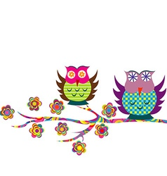 Patterned cartoon owls on a branch vector image vector image