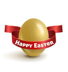 Realistic gold easter egg with red ribbon vector