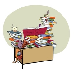 School Desk with books literature and the library vector image