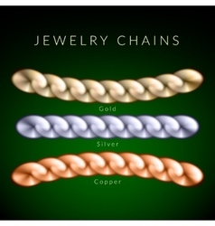 Set of jewelry chains vector image vector image