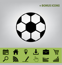 Soccer ball sign black icon at gray vector