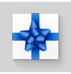 Square Gift Box with Blue Ribbon Bow on Background vector image