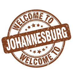 Welcome to johannesburg brown round vintage stamp vector