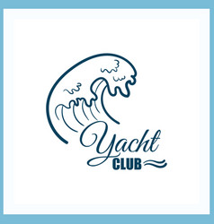 Yacht club badge with wave vector