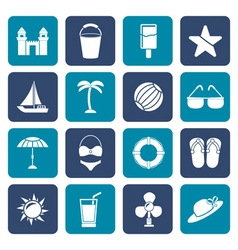 Flat beach sea and holiday icons vector