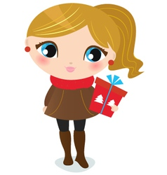 Cute christmas girl with present isolated on white vector image