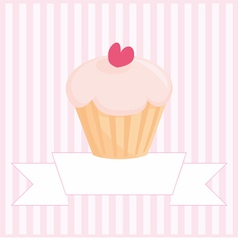 Sweet retro love cupcake pink vintage card vector