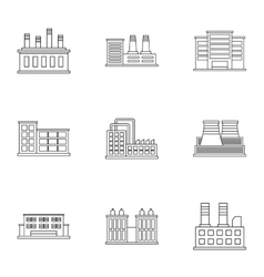 Production plant icons set outline style vector