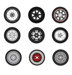 Retro cars classic and sport cars wheel set vector