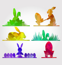 Easter polygonal triangle design with bunny vector