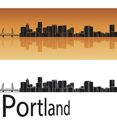 Portland skyline in orange background vector image