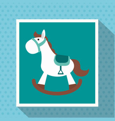 Wooden horse play toy kid vector