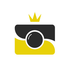 Royal shot icon logotype camera wint crown vector