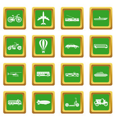 Transportation icons set green vector