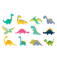 set of cartoon cute dino vector image