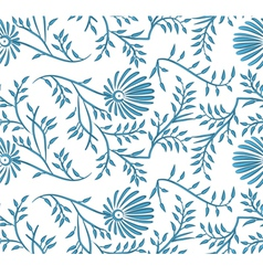 Blue and white seamless floral background vector