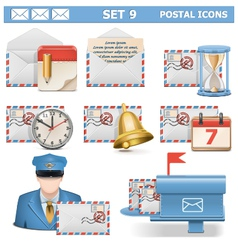 Postal Icons Set 9 vector image