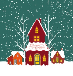 Merry christmas background with christmas house vector