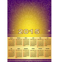 Violet-gold calendar for 2015 vector image