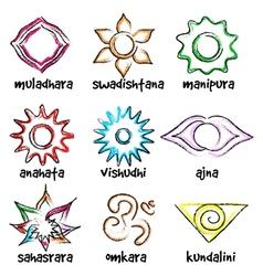 set of chakras symbols vector image