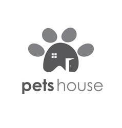 Abstract icon of pets paw with window and door vector