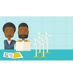 Two black workers using laptop with windmills vector