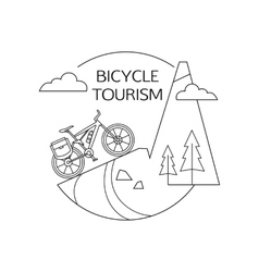 Bicycle tourism outline background minimalistic vector