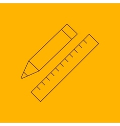 Pencil with ruler line icon vector