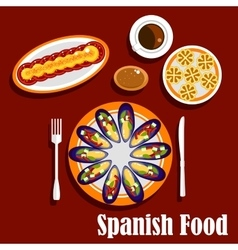 Traditional spanish seafood dishes and drinks vector