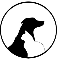 Composition of dog and cat silhouettes vector