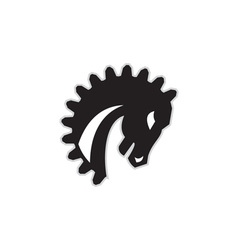 War horse spiked mane side retro vector
