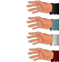 Male hand in some color shirt vector image