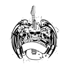 Skull punk with guitar vector