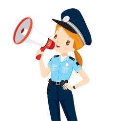 Policewoman with megaphone announcement vector