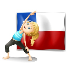 A girl stretching in front of a flag of chile vector