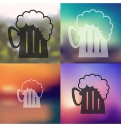 Beer icon on blurred background vector