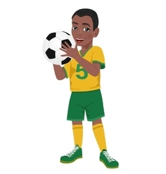 Boy soccer player holds ball vector