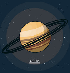 Colorful poster of the planet saturn in the space vector
