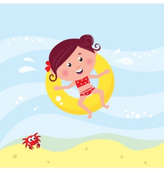 cute girl swimming vector image vector image