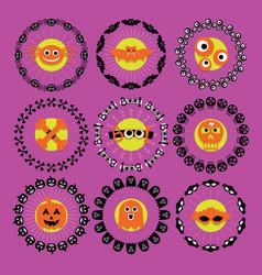 Cute halloween circle border pattern emblems set vector