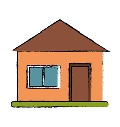 drawing house suburban architecture green grass vector image