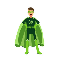 Ecological superhero man standing with hands on vector
