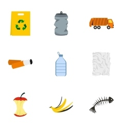 Garbage icons set flat style vector