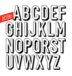 handmade retro font black letters on white vector image