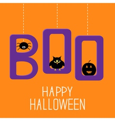 Hanging word BOO with spider owl and pumpkin vector image