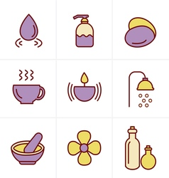 Icons Style Spa Icons Set Design vector image vector image