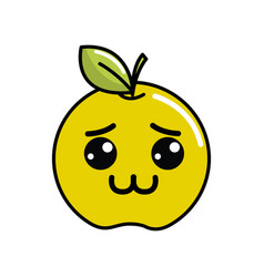Kawaii shy lemon fruit icon vector